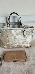 RARE* Coach F13121 Gold Studded Rhinestones Leather Bag & matching Wallet Clutch