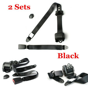 2 Sets Universal 3 Point Extension Car Seat Belt Adjustable Kit & Diagonal Belt
