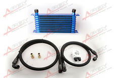 UNIVERSAL 10 ROW OIL COOLER KIT ALUMINUM TURBO NA TURBO SUPERCHARGER BLUE