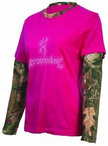 Browning Hot Pink Ladies Shirt, Fuchsia Layered Mossy Oak Camo