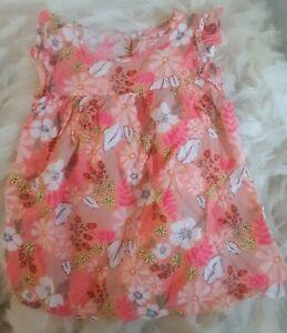Girls Blouse Size 7/8Cat & Jack pink & orange floral