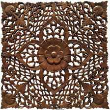 """Tropical Wood Carved Floral Asian Home Decor Wall Plaque Sculpture Square 24"""""""