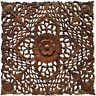 Tropical Wood Carved Floral Asian Home Decor Wall Plaque Sculpture Square 24""
