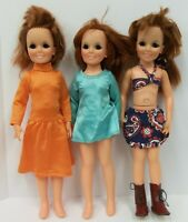 Lot of 3 Vintage Ideal Growing Hair Crissy Dolls with Clothes Outfits