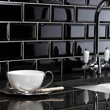 Wall Tiles - Metro brick effect black ceramic tile
