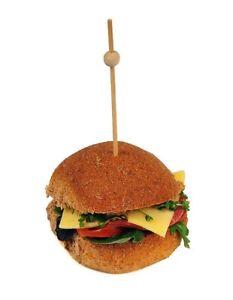 100pcs Bamboo 15cm Ball Skewers - Burgers Natural Party Bar Food BBQ Eco Bio