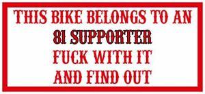 "075 Hells Angels Support 81 Big Red Machine Sticker This Bike Belongs To """