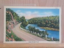 Linen post card view, Riverside Road in Maine