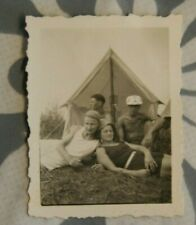 Foto 1932 woman girl Zelt strand Boy mann 3,5 x 4,7cm Y1