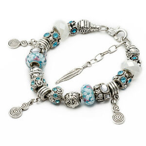 RUBYCA Silver Snake Chain Barrel Bracelet with European Charm Bead 20cm Gift Box