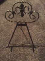"Fleur De Lis 15"" Tripod Metal Decorative Table Top Plate Art Book Display Easel"