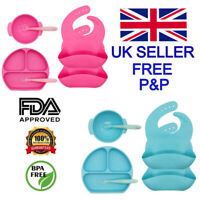 Silicone Suction Baby Weaning Feeding Set Blue Pink - Plate Bowl 2 Bibs 2 Spoons