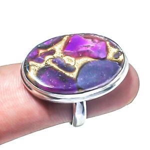 Purple Copper Turquoise, Purple Copper Turquoise Handmade Jewelry Ring Size 8 UL