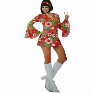 Charades Grovin 60's Hippie Costume Dress Size L Flowers Hippie