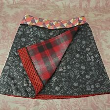 Goth Wrap Skirt Adjustable Reversible Womens 4 in 1 Red Black