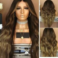 """28"""" Ladies Ombre Brown Long Curly Wigs Womens Natural Wavy Hair Cosplay Wig USA"""