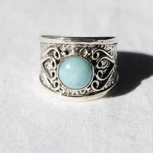 Larimar Ring - Solid 925 Sterling Silver - Size 6.5 - Blue Stone