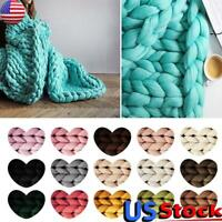 Manual Wool Yarn DIY Super Bulky Arm Knitting Chunky Roving Crochet Blanket US