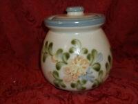 """Vtg Louisville Stoneware Floral Design 6.25""""  jar canister crock...NICE!!"""