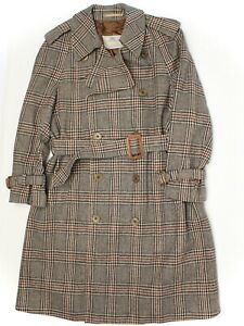 VTG Aquascutum Mens Trench Coat 38R Brown Plaid Saxony Wool Belted England