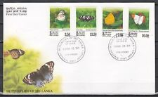 Sri Lanka, Scott cat. 1283-1286. Butterflies issue on a First day cover.
