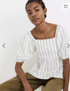 Madewell Puff-Sleeve Empire Top S NWOT