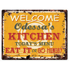 PPKM0767 ODESSA'S KITCHEN Rustic Chic Sign Funny Kitchen Decor Birthday Gift