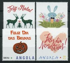 More details for angola personalised stamps 2019 mnh christmas easter halloween valentines 4v set