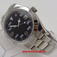 39mm PARNIS black dial sapphire glass folding clasp automatic mens watch P939
