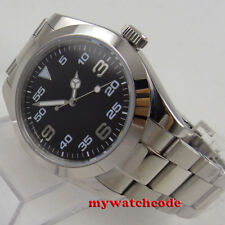 40mm PARNIS black dial sapphire glass folding clasp automatic mens watch P939