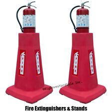 2 Portable Fire Extinguisher Stands With 2 Fire Extinguishers