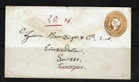 India - 1906 Seapost 2A6P Victoria Stationary Cover to Switzerland - 092017