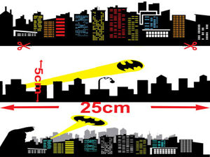 Batman Gotham City Sky EDIBLE ICING STRIPS WRAP   CAKE  IMAGE FROSTING SHEET