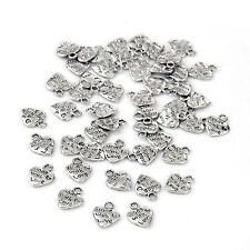 """Lot 50 Silver Plated MADE WITH LOVE Heart Charms 0.35"""" HOT AD"""