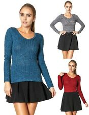 SML Marled Ribbed Knit V Neck Long Sleeve Stretch Lightweight Casual Top SWEATER