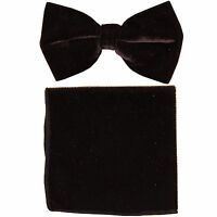 New in box formal men's pre tied Bow tie & Pocket Square Hankie Velvet Brown