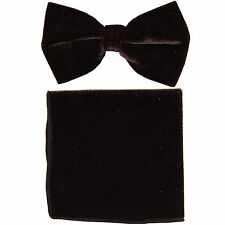 New in box formal men's pre tied Bow tie & Pocket Square Hankie Velvet Brown