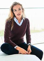 Cotton and Cashmere Blend Burgundy Fine Knit V Neck 'Preppy' Jumper