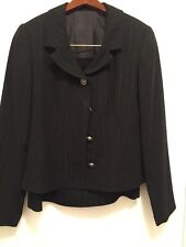 Saks Fifth Avenue Skirt Suit Black with Sparkle Pinstriped  All Occassion Size 8