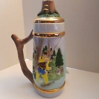 "Vintage Handmade 3D Ceramic Beer Stein 15.5"" High 3D Fish Fisherman Scene"