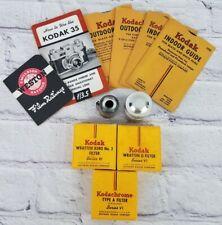 Vtg Kodak Lot Filters/Guide 35 Mm Undeveloped Film & Camera Manual