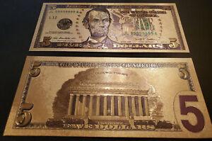 U.S. 5 Dollar gold foil note, series 2009, # JL99999999A