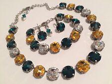 Swarovski crystal elements Necklace Bracelet Earring 12mm Jewelry Green Yellow