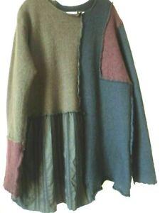Atemberaubend Rundholz Tunika Oversized Lagenlook Kleid Pullover