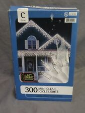 New in Box 300 Mini Clear Icicle Lights Christmas by Target White Wire Stays Lit
