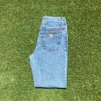Vintage GUESS USA Womens High Waisted Mom Jeans 26 x 32 | Light Wash 1990s