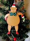 WOOD REINDEER SANTA HAT & BOW TIE PULL STRING PUPPET TOY CHRISTMAS ORNAMENT