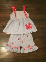 Smocked Monkey EUC Girl's Seersucker Crab Outfit 4T