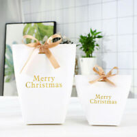 Merry Christmas White Gifts Bags Paper Favour Candy Sweets Packaging Boxes Home