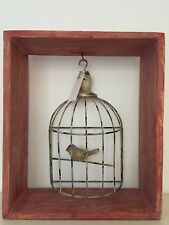Shabby Rustic Wall Art Hanging Frame Cage Bird Decor Vintage  Home Decor